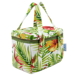 Portable Lunch Bag Lunch Tote Bag Organizer Box Zipper Grocery Bag, Green