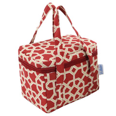 School / Office Lunch Bag Tote Bag Zipper Organizer Lunch Box Holder, Red&Coffee