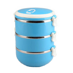 2.1L Creative Lunch Box Stainless Steel Sealed Bento Box,Blue