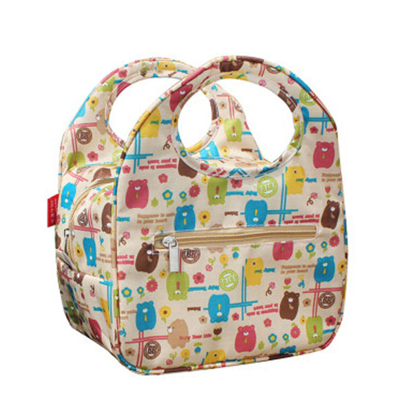 Lovely Animal Insulated Lunch Box Bag Fashion Lunch Tote Bags KHAKI