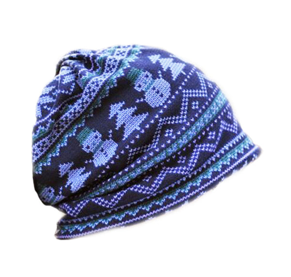 Double-purpose Hat Christmas Blue Knitting Wool Hat