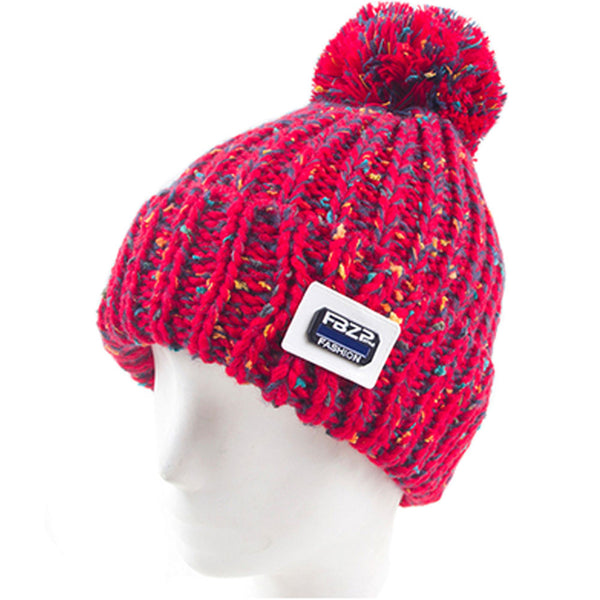 Womens Adorable Warm Beanie Hat Skully Cap Ski Snow Hat Winter Knit Hats, Red