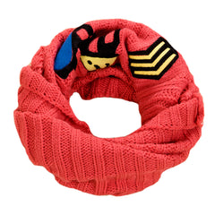 Light Red Cute Knit Infinity Scarf Warm Loop Scarfs Neck Scarves for Kids