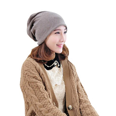 Fashion Pure Color Baggy Beanie Cap Slouchy Skull Hat Men/Women Hat,Coffee