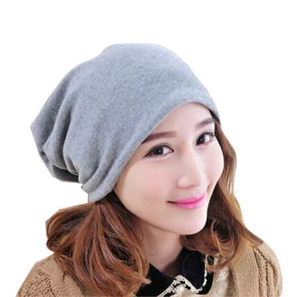 Fashion Pure Color Baggy Beanie Cap Slouchy Skull Hat Men/Women Hat,Gray
