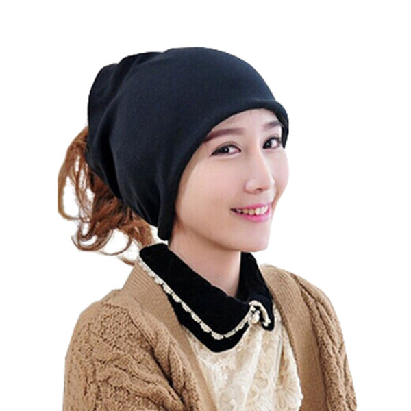 Fashion Pure Color Baggy Beanie Cap Slouchy Skull Hat Men/Women Hat,Black