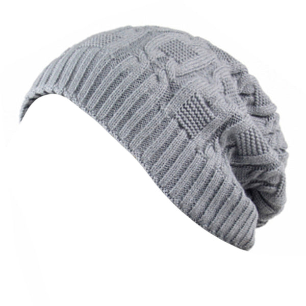 Trendy Winter Warm Cap Chunky Soft Villus Cap Knit Hat Slouchy Beanie  Grey