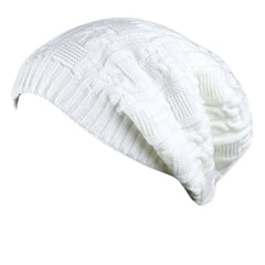Trendy Winter Warm Cap Chunky Soft Villus Cap Knit Hat Slouchy Beanie  White