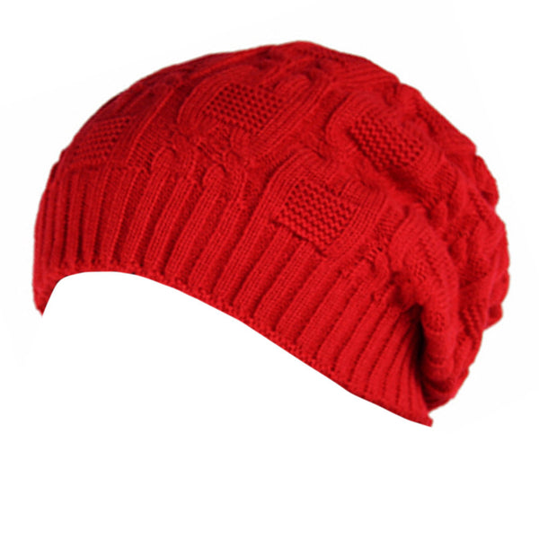 Trendy Winter Warm Cap Chunky Soft Villus Cap Knit Hat Slouchy Beanie  Red