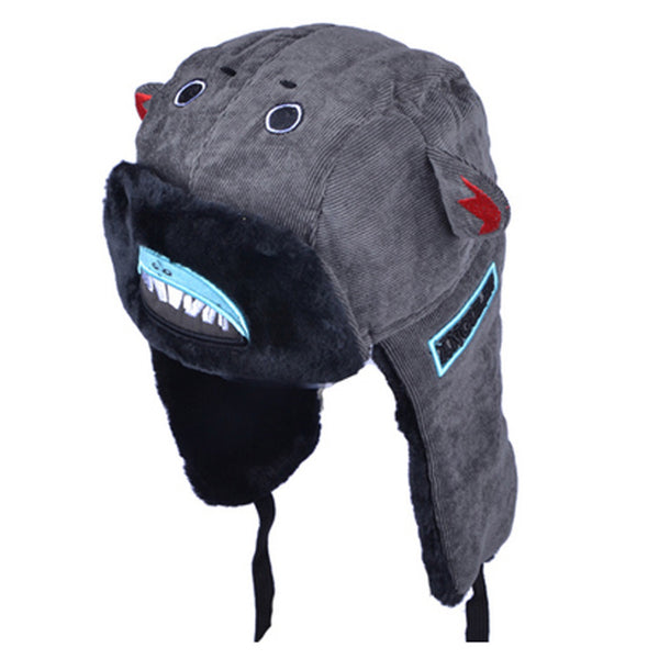 Adorable Warm Earflaps Hat Beanie Hat Winter Soft Cap Best Gift Grey / Shark