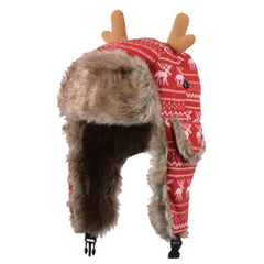 Lovely Antler Warm Earflaps Hat Beanie Hat Winter Soft Villus Cap Best Gift E