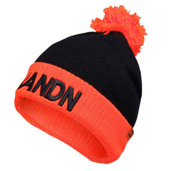 Warm Beanie Hat Knit Winter Hats Skull Hat Unisex Sports Caps ( Black / Orange )