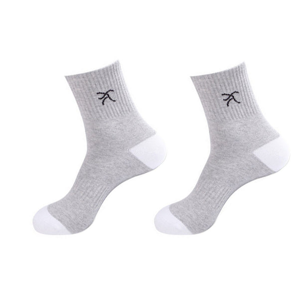 Men's Men Running Casual Socks 2 Pairs White Gray