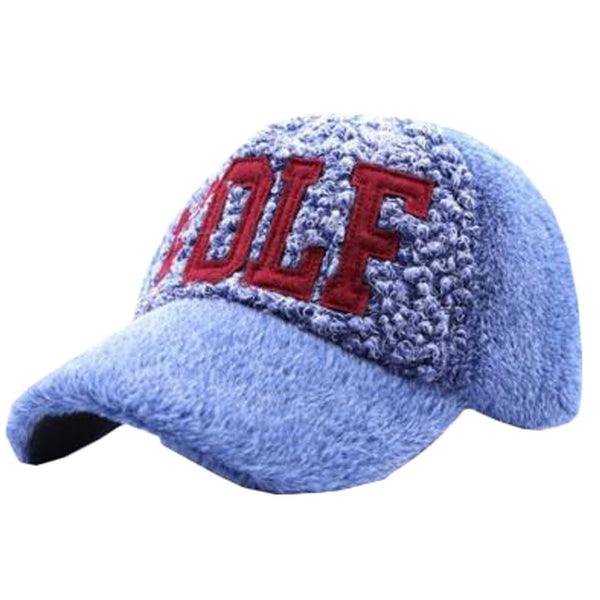 Blue Unisex Leisure Hat Baseball Cap Keep Warm Thick Plush Cycling Cap