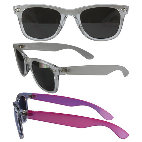 Color Change Wayfarer with Smoke Polycarbonate Lenses, Clear Temple Changes to Pink