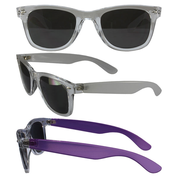 Color Change Wayfarer with Smoke Polycarbonate Lenses, Clear Temple Changes to Purple