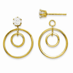 14k Yellow Gold Double Circle with CZ Stud Jackets