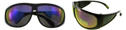 Black Large Framed Sunglasses with Colorful Mirror Lenses Case Pack 36