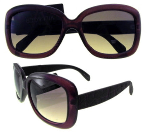 Thick Maroon Framed Square Lens Sunglasses Case Pack 12