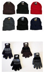 Cuffed Winter Knit Hats and Knit Gloves Combo Packs Case Pack 120