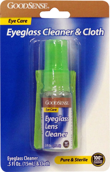 Good Sense Eye Glass Lens Cleaner (0.5 oz.) And 1 Cloth Case Pack 36