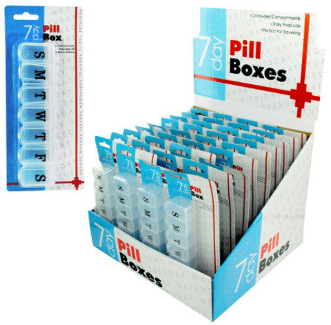 7 Day Pill Box Counter Top Display Case Pack 36