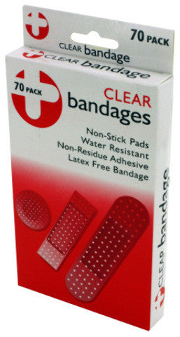 70-Pack Clear Latex-Free Bandages Case Pack 12