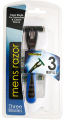 Triple Blade Men's Razor with Refills Case Pack 12