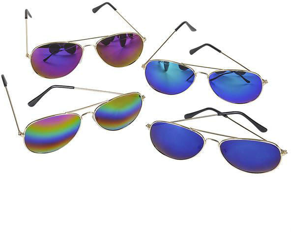 Adult Size Rainbow Lens Aviator Sunglasses Case Pack 144