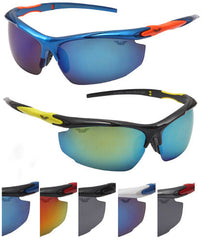 Motorcycle Sports Sunglasses Wrap Style Two Tone Case Pack 24