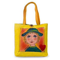 BrightFaces Chelsea Hat 'n Heart Colorful hand Painted Casual Shopping Tote Bag - Large w/ Long Comfortable Fabric Handles