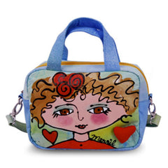 New Trendy Bright Faces Blond Colorful Hand Painted Shoulder Tote Shoulder Bag for Girls