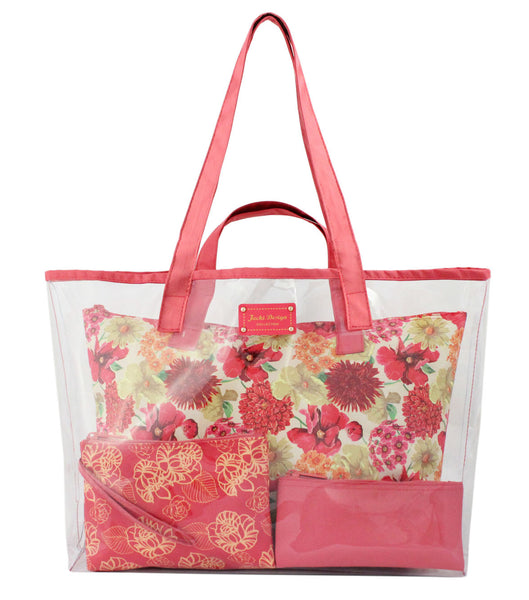 Jacki Design Miss Cherie 4 Piece Outdoor Travel Tote Bag Set - Coral
