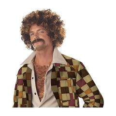 New Arrival Best Seller Disco Dirt Bag Wig & Mustache for Adult