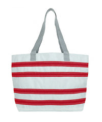 Nautical Stripe Large Tote, white w/red stripes