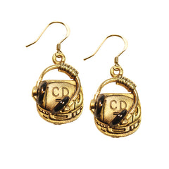 Whimsical Earrings Women Party CD Player and Headphone Charm Earrings in Gold
