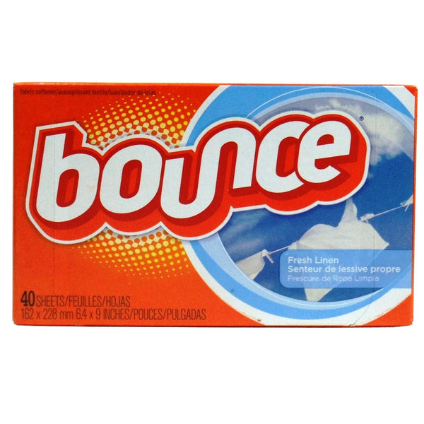 BOUNCE DRYER SHEETS, FRESH LINEN SCENT, 40-COUNT (6.4