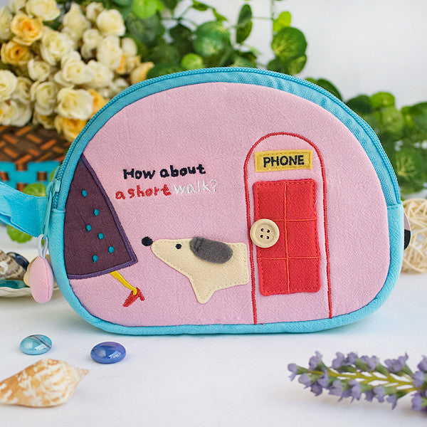[A Short Walk] Embroidered Applique Cosmetic Bag / Camera bag / Hand Purse Wallet (7.1*5.1*2.8)