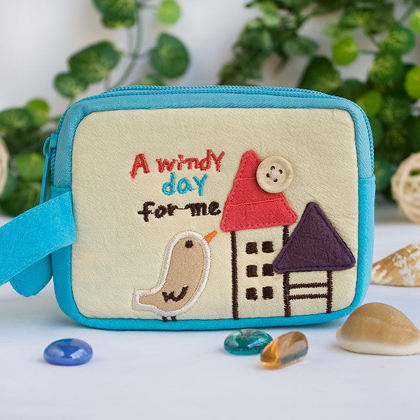[A Windy Day For Me] Embroidered Applique Pouch Bag / Cosmetic Bag / Carrying Case (4.9*3.7*2.4)