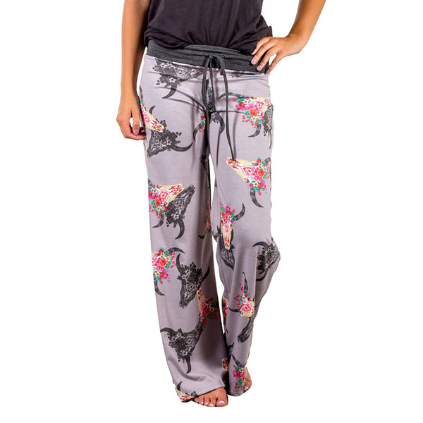 2019 Cute Design Sleep Bottoms Women Floral Print  Long Pants Pajama Trousers Female Soft Loose Pyjamas Sleep Pants Pijamas