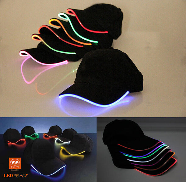 New Top Fantastic Glow LED Light up BaseBall Hat,Unisex Baseball Cap Hat with Headlamp,Mutil-color LED Night party flashing Caps