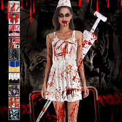 Halloween Cosplay Costumes for Women Blood Sexy Nurse Uniforms Party Wear Femme Zombie Devil Demon Dress Vampiro Clothes Vestido