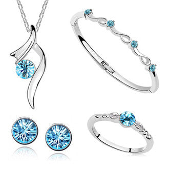 2017 Hot Sale White Gold Plated Austrian Crystal Pendant Necklace/Earring/Bracelet/Ring Stars Shining Bride Wedding Jewelry Sets for Women