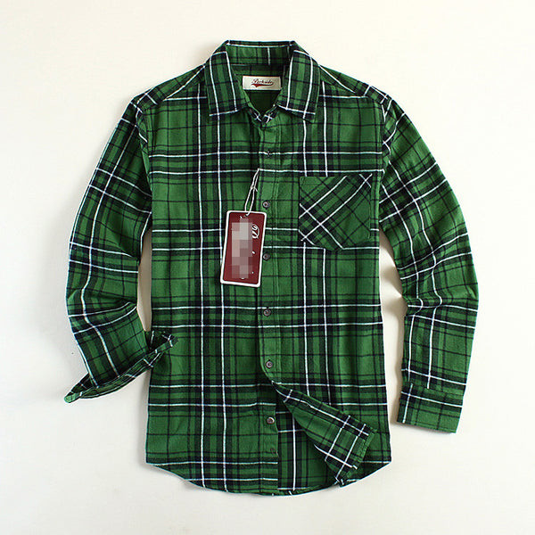 New Fashion Men Flannel Plaid Shirt Brand Cotton Check Shirts Long-sleeve Green USA Size S / M/L  Casual Shirt Promotion