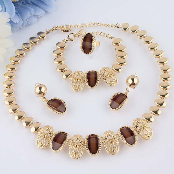 New 18k Gold Filled Austrian Crystal Necklace Bracelet Earring Ring Womens Best Wedding Jewelry Set