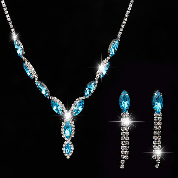 New Fashion Luxury Bridal Silver Austria Crystal Earrings Necklaces & Pendants Jewelry Sets