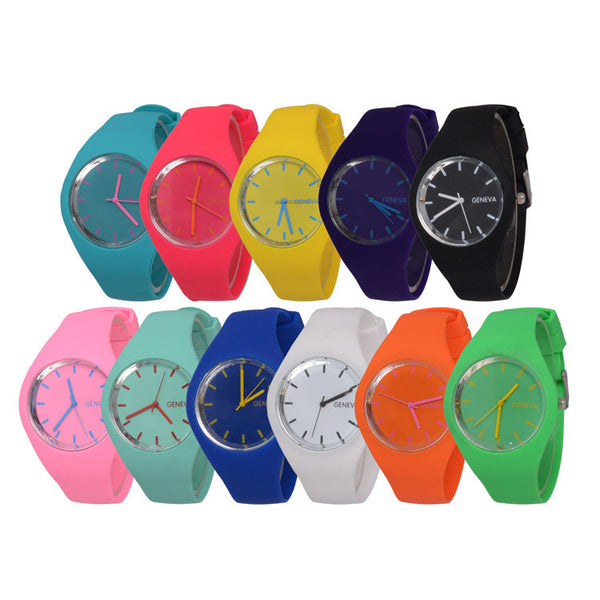 2017 New Fashion Ice Cream Color Ultra-thin Gift Silicone Geneva Wristwatch for Men and Women