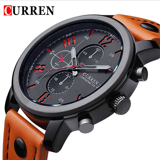 New Arrival Luxury Brand Fashion Casual Quartz Leather Strap Sports Wristwatch for Men