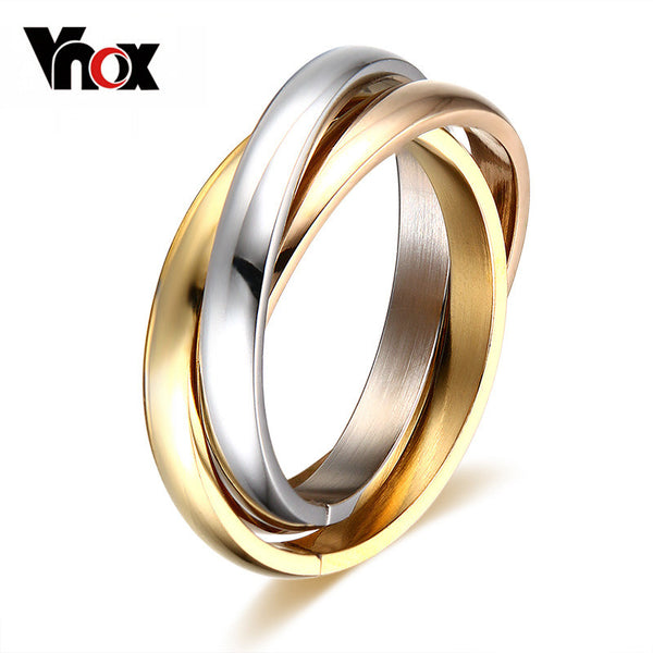 Vnox Classic 3 Rounds Ring Sets For Women Stainless Steel Wedding Engagement Female Finger Jewelry