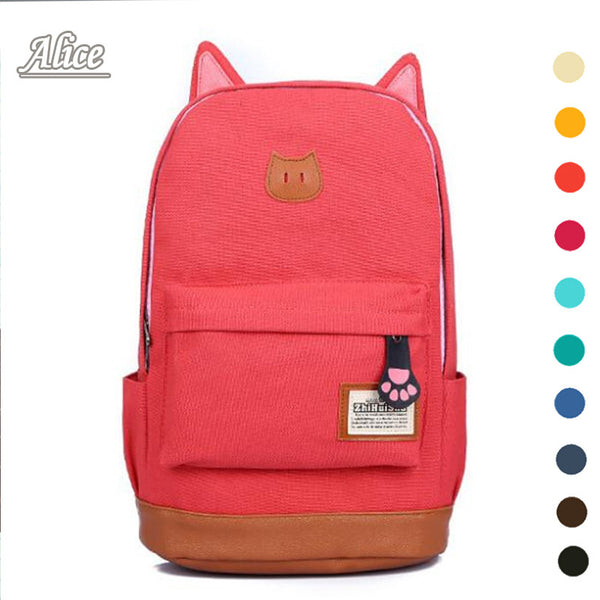 Canvas Campus School Girls Bag for Outdoor Sports Travel Cat Ears Cartoon Backpacks